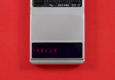 Hello displayed on a vintage LED calculator Stock Photography