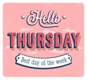 Hello-Donderdag typografisch ontwerp Royalty-vrije Stock Afbeeldingen