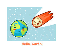 Hello, Earth. Kawaii space funny card. Doodles with pretty facial expression. Illustration of cartoon earth and asteroid Royalty Free Stock Photos