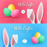 Hello easter bunny button set. Pink and blue cards with rabbit ears, color eggs and button start and about. Vector illustration Royalty Free Stock Image