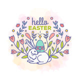 Hello easter card design. Hello easter card with bunny design vector illustration. Line style Royalty Free Stock Photo