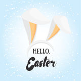 Hello Easter. Holiday greeting card with calligraphy elements. E Stock Photo