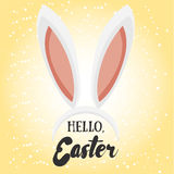 Hello Easter. Holiday greeting card with calligraphy elements. Stock Photos
