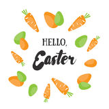 Hello, Easter. Holiday greeting card with calligraphy elements. Royalty Free Stock Images