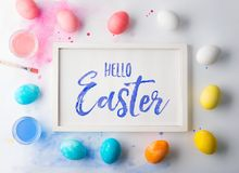 Hello Easter flat lay on a white background. Stock Images