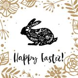 Hello Easter. Running silhouette of a rabbit in the flower circle. Calligraphy card. Hand drawn design elements. Handwritten mode