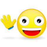 Hello emoticon. Emoticon waves his hand. Joyful emoticon. Pleased emoji. Happy emotion. Vector illustration smile icon. Royalty Free Stock Image