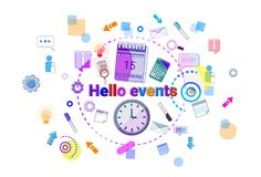 Hello Events, Business Schedule Time Management Concept Web Banner Stock Photo