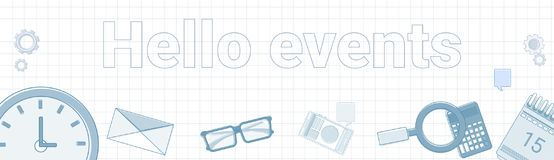 Hello Events Word On Squared Background Horizontal Banner Business Time Schedule Concept. Vector Illustration Stock Photo