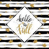 Hello fall - gold text with maple on seamless striped background. With gold autumn maples leaves, golden lettering on autumnal linear background with leaf Stock Photo