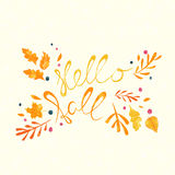 Hello Fall hand lettering Stock Photography