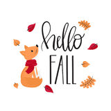 Hello fall - inscription and fox. Hand drawn lettering - Hello fall. Card with decorative inscription, fox and autumn leaves, vector illustration Stock Photos