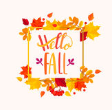 Hello Fall lettering in autumn leaves frame. Stock Photography