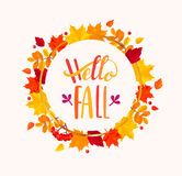 Hello Fall lettering in frame from autumn leaves. Stock Images