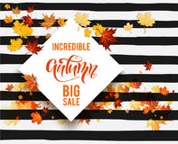 Hello fall sale striped card Stock Photography