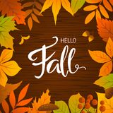 Hello fall seasonal autumn leaves frame background Royalty Free Stock Images