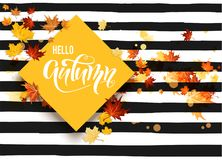 Hello fall striped card Royalty Free Stock Photography