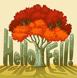 Hello fall. Text illustration with tree Royalty Free Stock Image