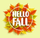 Hello fall text vector banner design with yellow and orange autumn maple leaves Stock Photo