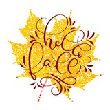 Hello fall text on yellow autumn leaf. Hand drawn Calligraphy lettering Vector illustration EPS10 Royalty Free Stock Photo