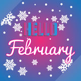 Hello Februari snöflingor och bokstäversammansättningsreklamblad Royaltyfria Bilder