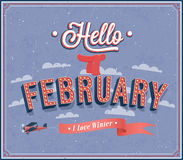Hello februari typografisk design. Arkivbild