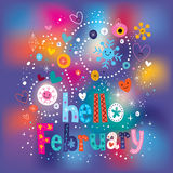 Hello February decorative type text lettering Stock Photography
