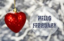 Hello February greeting card with blurred decorative red heart on white snowy trees background.Winter season or Valentines Day con stock photo