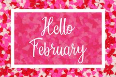 Free Hello February Greeting Card With White Text Over A Candy Heart Background Royalty Free Stock Photo - 136295505