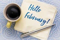 Hello February on napkin royalty free stock photos