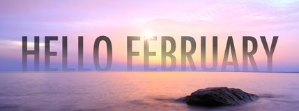 Hello February with nice seaview royalty free stock images