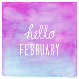 Hello February text on blue and purple watercolor background Stock Photos
