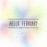 Hello February text on pastel spray paint background.  Stock Photo