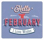 Hello february typographic design. Royalty Free Stock Photo