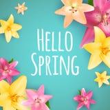 Hello fjädrar bakgrund för banerhälsningsdesignen med färgrika blommabeståndsdelar också vektor för coreldrawillustration Royaltyfria Foton
