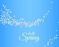 Hello fjädrar blå bakgrund för anbud med den mousserande strömmen från sakura blommor vektor Stock Illustrationer