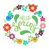 Hello fjädrar bokstäverhälsningkortet Räcka den utdragna illustrationen med blommakransen och bokstäver vektor illustrationer