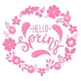 Hello fjädrar bokstäverhälsningkortet Räcka den utdragna illustrationen med blommakransen och bokstäver stock illustrationer