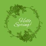 Hello fjädrar design för grönt kort med text i cirkelram från dillfilialer vektor Royaltyfri Illustrationer