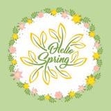 Hello fjädrar det härliga hälsningkortet med blommor på en vit bakgrund och en stiliserad inskrift Vårmall för Arkivfoton