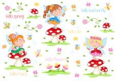 Hello fjädrar - förtjusande små feer och fjädrar trädgården royaltyfri illustrationer