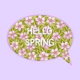 Hello fjädrar hälsningkortet med blommor Arkivfoto