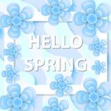 Hello fjädrar hälsningkortet med blommor, modern papperssnittstil Internationell dag för kvinna` s mall för mars 8 för ditt Arkivfoton
