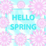 Hello fjädrar hälsningkortet med blommor, modern papperssnittstil Internationell dag för kvinna` s mall för mars 8 för ditt Arkivbild