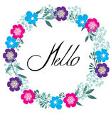Hello Floral Frame. Vector illustration of a hello greeting floral frame Royalty Free Stock Image