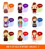 Girls saying hello in foreign languages. Hello in foreign languages. Cartoon characters with speech bubbles. Vector flat illustration royalty free illustration