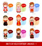 Girls saying hello in foreign languages. Hello in foreign languages. Cartoon characters with speech bubbles. Vector flat illustration stock illustration