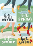Hello four season, vector calligraphy style with retro texture, flat minimal design Royalty Free Stock Image
