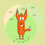 Hello fox. Standing fox at circle background Royalty Free Stock Images