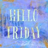 Hello fredag Tappningbakgrund i lilor, indigoblått och guld Chic stil för moderiktig boho Arkivbild